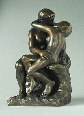 THE KISS NUDE MINI SCULPTURE STATUE POCKET ART RODIN Bronze Finish In Box