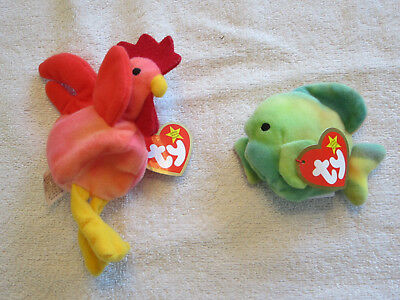 """TY BEANIE BABY 1993 """"STRUT"""" the CHICKEN / CORAL the FISH...WT...NEW CONDITION"""
