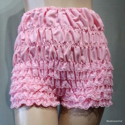VINTAGE FRILLY SUGAR PINK COTTON DANCE PANTS BLOOMERS KNICKERS Med
