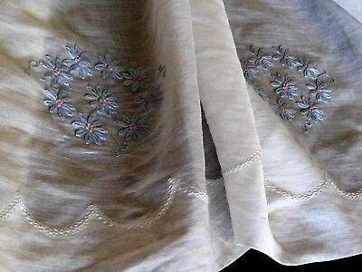 """1930s~16X55"""" SHEER WHITE LINEN LAWN w/Embroidery&Feather Stitch~DOLL DRESS~ExCon"""