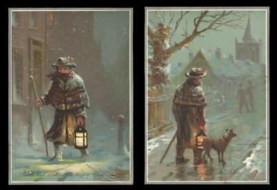 P57 - Man With Lantern - Matched Pair Of Large Victorian Xmas & New Year Cards