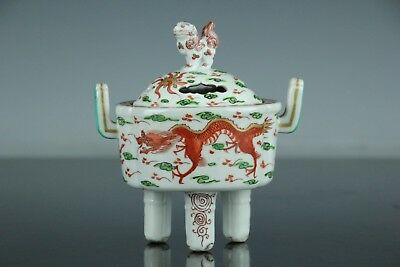 Nov024 Chinese Antique Red Hand Painted Incense Burner Koro Foo Dog Top W/box