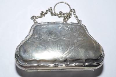 Vintage Chatelaine Purse With Chain Handle - Leather Inside