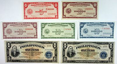 Philippines Central Bank 5-10-20-50 Centavos UNC + 1 Peso Victory Series (7 pcs)