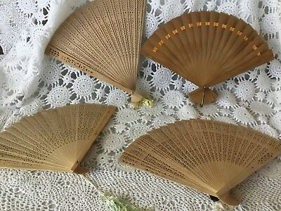 Wooden Bamboo Oriental Wall Hand Fans Hand Crafted Lot of 4 Laser Cut