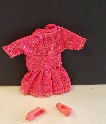 Beautiful Red Nylon Mini With Pleated Skirt From Unknown Maker Lot 11-13-4