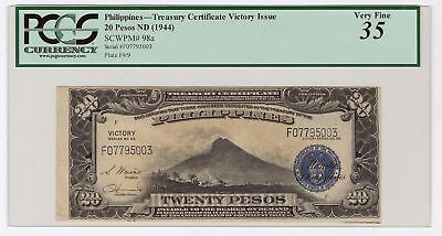 Philippines. Treasury Certificate, Victory Issue 1944 20 Ps P-98a PCGS VF35 BEP