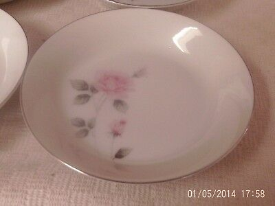 "Vintage Norleans Contessa Set Of 4 Soup Pasta Bowls 7 1/2"" Beautiful Pink Roses"