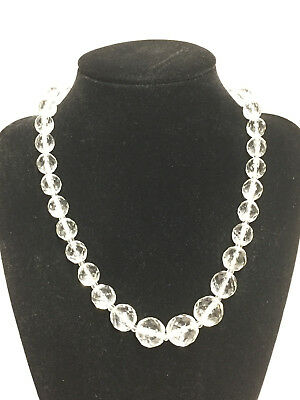 Vintage Clear Cut Crystal Glass Bead Necklace, Size Variations