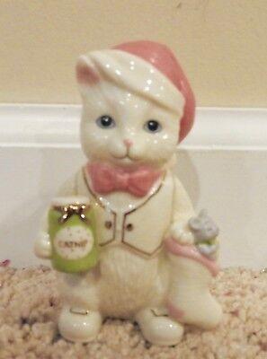 Lenox Holiday Cat Figurine With Stocking And Gift