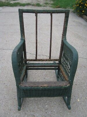 Original Primitive Antique Old Vintage Green Wicker Rocking Chair needs new seat