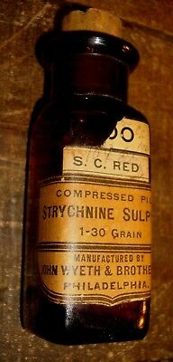 Vintage John Wyeth & Brother Strychnine Sulphate Poison Bottle W/ Red Pills