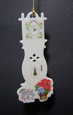 VINTAGE 1993 LENOX HANGING CHRISTMAS ORNAMENT #6 Pierced Grandfather Clock