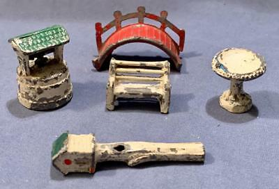 Antique Metal Lead Toy Park Lot Wishing Well Bridge Bench Bird Bath House