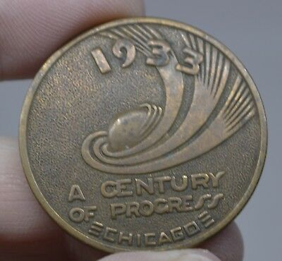 A CENTURY OF PROGRESS  CHICAGO TOKEN 1933 Good Luck Coin Souvenir Worlds Fair