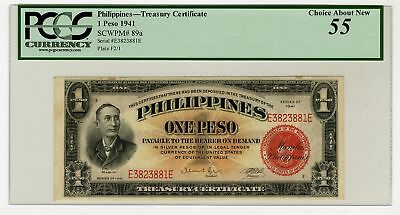 Philippines, Treasury Certificate. 1941, 1 Peso P-89a issued PCGS Choice AU 55