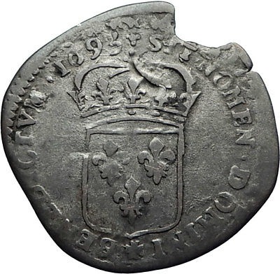 1693 FRANCE Sun King LOUIS XIV Silver 15 Deniers Antique FRENCH Coin i71853