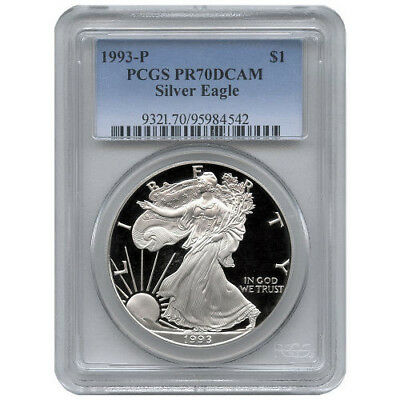 1993-P PCGS PR70 Proof American Silver Eagle Silver One Dollar Coin