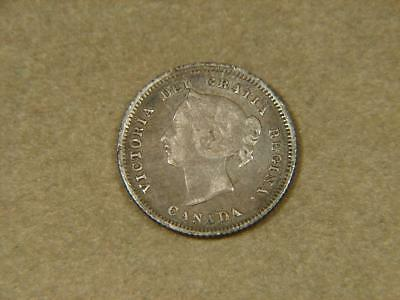 1880 H Canada 5 Cents Silver Coin