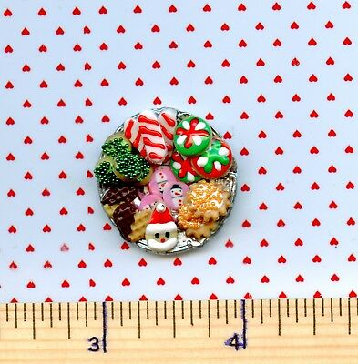 Dollhouse Miniature SMALLER Plate of Sue's CHRISTMAS Holiday Cookies  #  511
