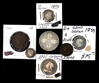 Lot of 7 Different Coins of Queen Victoria - 1859-1901 - Incl 1871 Gothic Florin