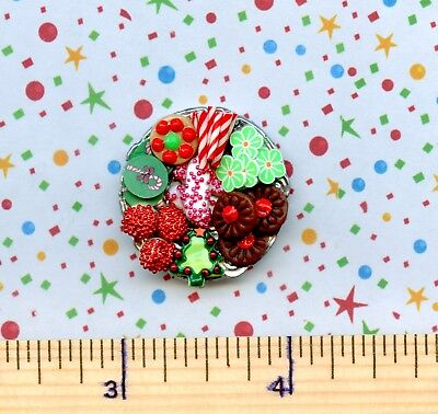 Dollhouse Miniature SMALLER Plate of Sue's CHRISTMAS Holiday Cookies  #  512