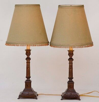 """Pair of Vintage Metal Brass Finish Column Candlestick Table Lamps 23"""" tall"""