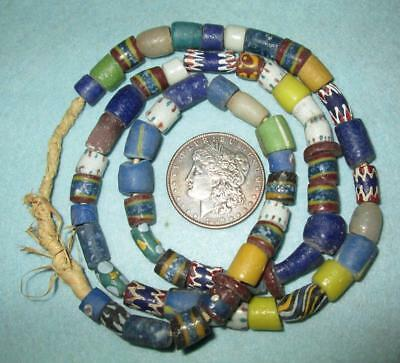"""Vintage/Antique 30"""" Necklace of Primitive Decorated Beads - Possibly Faience"""