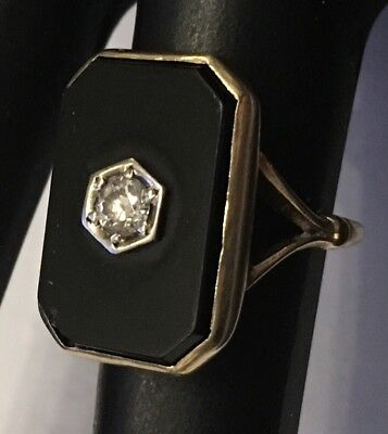 Antique Ring 14k Solid Gold Diamond In Onyx Size 5.25 Art Deco