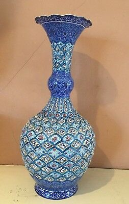 Antique hand decorated enamel on copper Persian flower vase signed