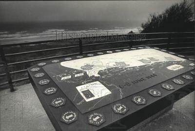 1984 Press Photo Map at Normandy, France Showing D-Day Arrangement of Forces