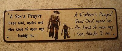 Cowboy Father And Son Prayer Sign Rustic Country Primitive Ranch Home Decor NEW