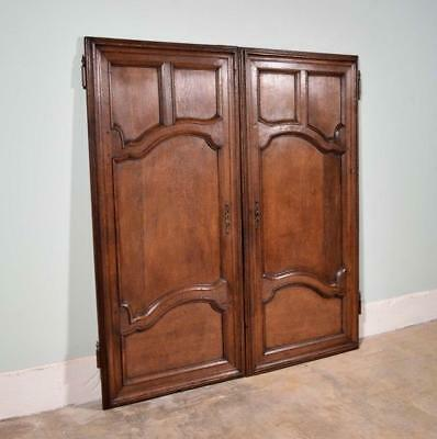 "*54"" Tall Pair of Antique French Solid Oak Wood Doors mid 1800's Salvage"