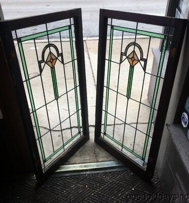 "Beautiful Pair of Antique Stained Leaded Glass Cabinet Doors /  Windows 45"" 27"""