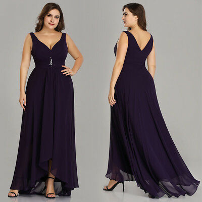572d1847b31 Ever-Pretty Plus Size Long Bridesmaid Dress Cocktail Evening Party Chiffon  09983