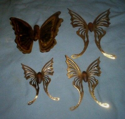 Lot of 4 Vintage Wall Hanging Gold Home Interior  Metal Butterflies