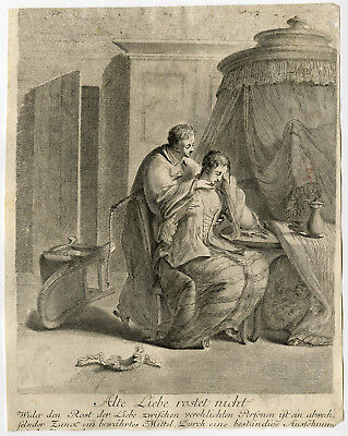 Very rare Antique Print-MARRIAGE-OLD LOVE STAYS-ALTE LIEBE-Rode-ca. 1758