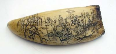 "Scrimshaw Replica 7"" Engraved Whale Tooth Paddle Steamer & Black Folks On Raft"