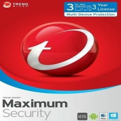 Trend Micro Maximum Security - 2018 (1 Year for 3 Devices!)