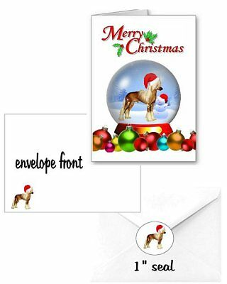30 Chinese Crested Christmas cards seals envelopes 90 pieces snow globe