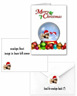 30 Pekingese Christmas cards seals envelopes 90 pieces snow globe