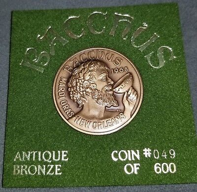 BACCHUS, 1988, Antique Bronze, New Orleans Mardi Gras Doubloon Coin #049 of 600