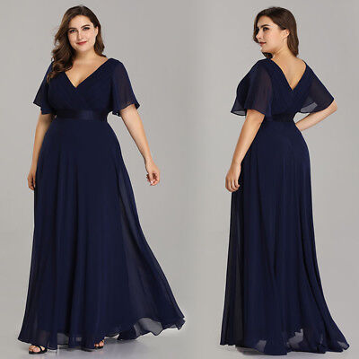 Ever-pretty US Plus Size Long Evening Dress Navy Blue Prom Party Proms 09890
