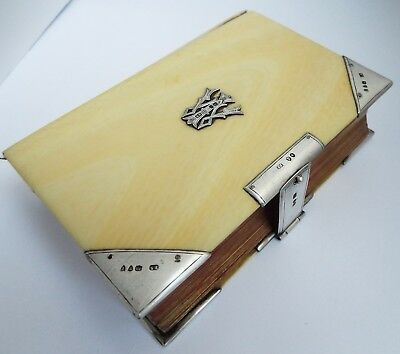 Stunning Large English Antique 1894 Solid Sterling Silver Mounted Prayer Book