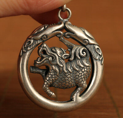 100% 925 Fine Silver Old Hand Carved fierce kirin dragon Statue Big Pendant