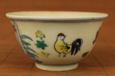 Old Porcelain Hand Painting Horse with chicken design Tea Cup Bowl decoration