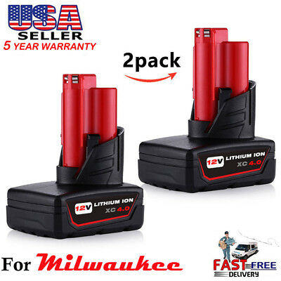 2x 12V Replace For Milwaukee 48-11-2460 M12 48-11-2440 LITHIUM ION 4.0Ah Battery