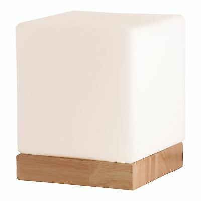 Light Accents Small Table Lamp Cube Accent Lamp Glass Shade with Natural Wooden