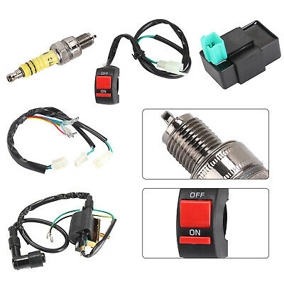 Wiring Loom On Off Switch Coil CDI Spark Plug Kit For 110cc 125cc 140cc Pit Bike