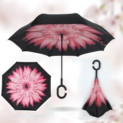 US Upside Down Inverted C-handle Umbrella Double Layer Windproof Reverse-Design